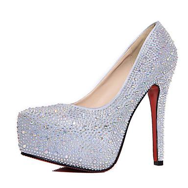 Pentru femei Pantofi PU Vară Balerini Basic Tocuri Plimbare Toc Stilat Vârf ascuțit Sclipici Strălucitor Argintiu / Rosu