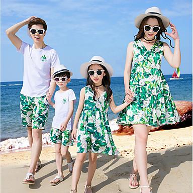 d1dcd979db Family Look Basic Beach Geometric Short Sleeve Polyester Dress Green