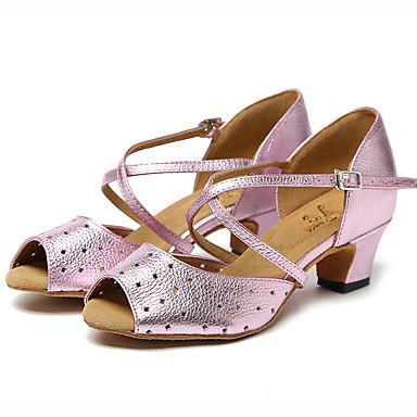 Pentru femei Pantofi Dans Latin Piele Sandale Sticlă exterioară Grosime călcâială Pantofi de dans Auriu / Roz