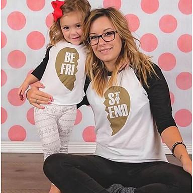 billige Familie-tøjsæt-Mommy og mig Basale Ferie Farveblok Langærmet T-shirt Guld