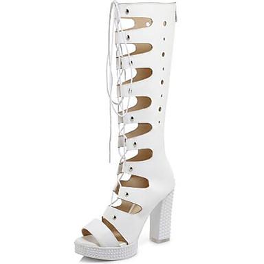 été Mode ouvert Chaussures Bottier Bottes Rivet Talon Printemps Bout Femme Bottes Blanc Gladiateur à Ruban la 06729627 Sandales Polyuréthane wt8Fwq4