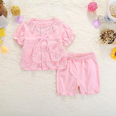 Bebelus Fete Activ Zilnic Mată Manșon scurt Regular Bumbac Set Îmbrăcăminte Roz Îmbujorat 59 / Copil