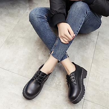 Pentru femei Pantofi PU Primăvară Confortabili Oxfords Toc Jos Negru