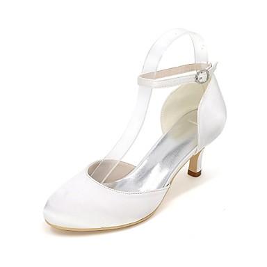 Pentru femei Pantofi Satin Primavara vara Balerini Basic pantofi de nunta Toc Mic Vârf rotund Cataramă Bleumarin / Maro deschis / Cristal