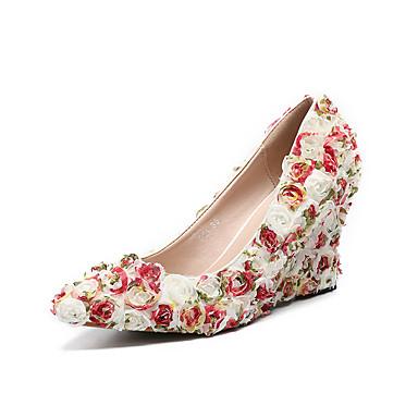 Pentru femei Pantofi PU Primavara vara Balerini Basic pantofi de nunta Toc Platformă Vârf ascuțit Flori din Satin Alb / Nuntă