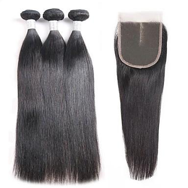 3 pachete cu închidere Păr Malayezian Drept Păr Natural Umane tesaturi de par / Extensii din Păr Natural / Bătătură de par cu închidere 8-22 inch Culoare naturală Umane Țesăturile de par 4x4 închidere