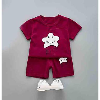 Bebelus Unisex Activ Zilnic Bloc Culoare Manșon scurt Regular Poliester Set Îmbrăcăminte Trifoi 100 / Copil
