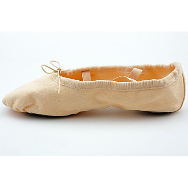 Girls' Ballet Plated Shoes Canvas Flat Gold Plated Ballet Transparent Heel Customizable Dance Shoes Pink b1ee35