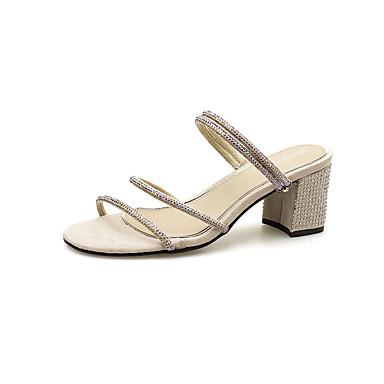 Pentru femei PU Vară Pantof cu Berete Sandale Plimbare Toc Îndesat Vârf deschis Sclipici Strălucitor Negru / Bej