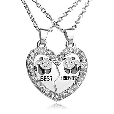 Pentru femei Zirconiu Cubic Coliere cu Pandativ - Inimă, Panda Simplu, Casual, Modă Heart Argintiu 45 cm Coliere Bijuterii 2pcs Pentru Cadou, Zilnic
