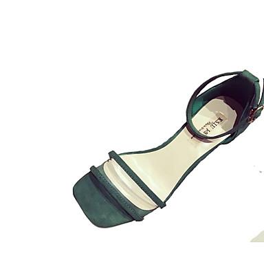 Pentru femei Pantofi PU Vară Pantofi pe Gleznă Sandale Toc Mic Alb / Negru / Verde / Party & Seară