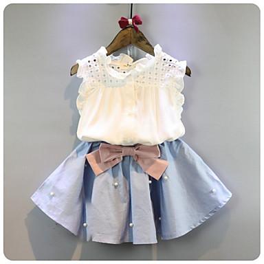 cheap Girls' Clothing Sets-Kids Girls' Basic Daily Solid Colored Sleeveless Short Regular Cotton Clothing Set White