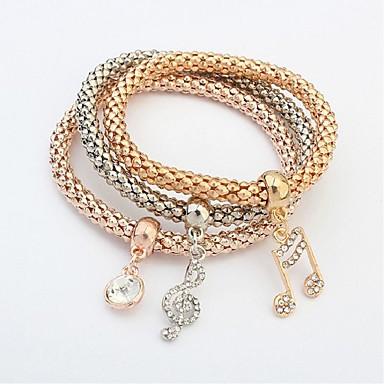 abordables Bracelet-3pcs Chaînes Bracelets Parure Bracelet Femme Multirang Musique Note de Musique dames Mode Multicouches Bracelet Bijoux Dorée pour Cérémonie Ecole