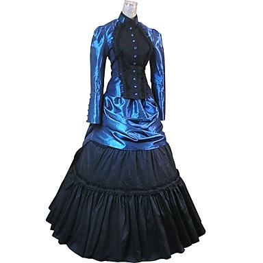 gothique rococo costume costume de soir e bal masqu bleu noir vintage cosplay floqu manches. Black Bedroom Furniture Sets. Home Design Ideas