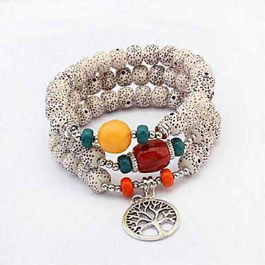 abordables Bracelet-3pcs Bracelet à Perles Parure Bracelet Bracelets de mémoire Femme Tanzanite synthétique dames Ethnique Mode Bracelet Bijoux Blanc Noir pour Mariage Ecole