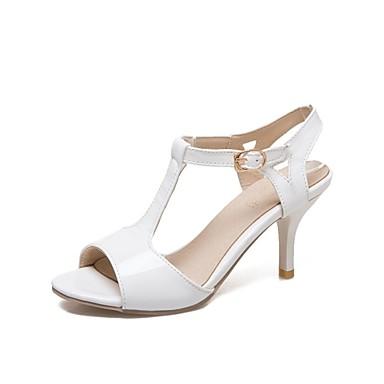 povoljno Ženske cipele-Žene Sandale Stiletto potpetica Peep Toe Eko koža Salonke s T-remenom Proljeće ljeto Obala / Crn / Light Pink / Zabava i večer / Zabava i večer