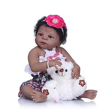 abordables Muñecas reborn-NPKCOLLECTION MUÑECA NPK Muñecas reborn Muñeca chica Bebés Niñas Muñeca africana 24 pulgada Cuerpo completo de silicona Silicona Vinilo - Regalo Bonito Artificial Implantation Brown Eyes Kid de Chica