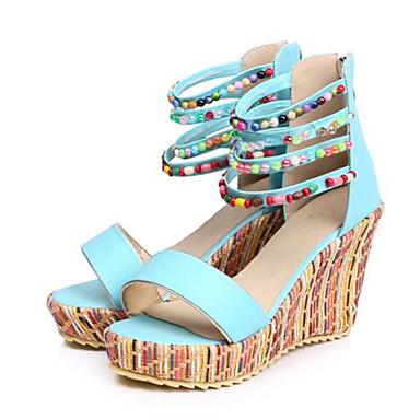 Hauteur Eté Polyuréthane compensée amp; Billes 06733338 Deux Bout Rose de Sandales Femme ouvert Bleu Beige Pièces Chaussures semelle D'Orsay 8Pxq55EFw