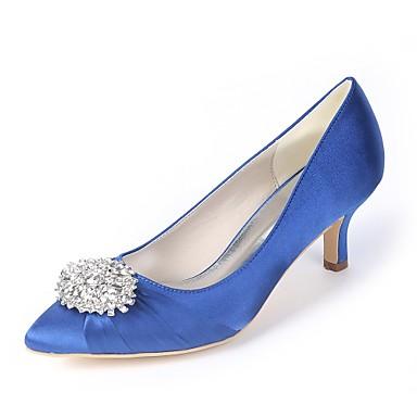 abordables Meilleures Ventes-Femme Chaussures de mariage Kitten Heel Bout pointu Strass Satin Escarpin Basique Printemps été Bleu royal / Champagne / Ivoire / Mariage / Soirée & Evénement / EU40