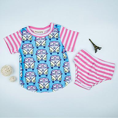 Bebelus Unisex Activ Bloc Culoare Manșon scurt Bumbac Set Îmbrăcăminte / Copil