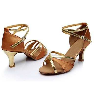 Femme Latines Chaussures Latines Femme Satin   / Talon Fantaisie Talon Bobine Personnalisables Chaussures de danse Marron 8decc3