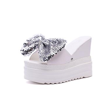 Pentru femei Pantofi PU Vară Confortabili Papuci & Flip-flops Toc Platformă Vârf rotund Funde Alb / Negru