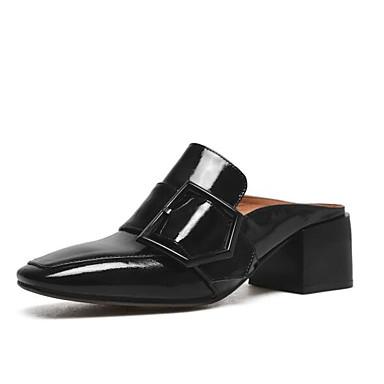 Cuir Verni Femme Chaussures Arrière Marron Vin Sabot carré Mules A Bout 06771127 Bride Boucle Talon Noir amp; Eté Bottier E5q5xwR