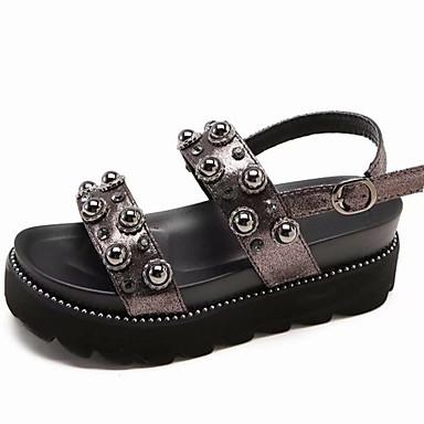 Pentru femei PU Vară Pantof cu Berete Sandale Creepers Negru / Gri