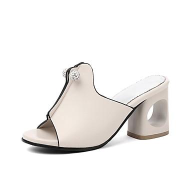 Pentru femei Pantofi PU Vară Pantof cu Berete Sandale Toc Îndesat Vârf deschis Negru / Argintiu / Bej