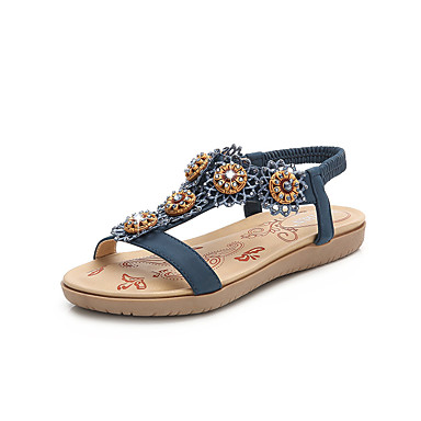 Almendra Negro 06754600 Sandalias Confort Cuero Plano Zapatos Mujer Azul Tacón Verano AwxTC4Uqf