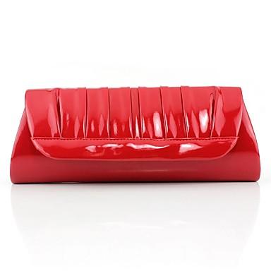 151016245b1 Mujer Bolsos PU Bolso de Noche En Relieve Color sólido Negro   Rojo