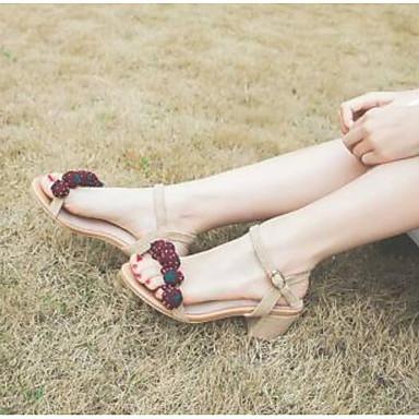 Cuir Sandales Bout 06776912 rond Femme Confort Nappa Amande Talon Chaussures Eté Bottier XzqP5nfq8