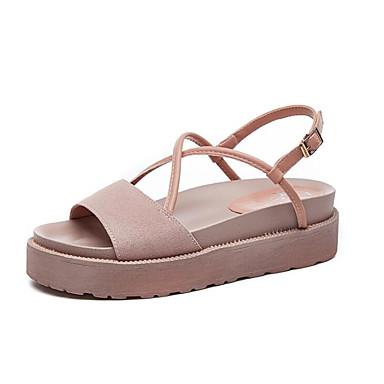 Žene Cipele Mekana koža Ljeto Gladijatorke Sandale Creepersice Crn / Pink