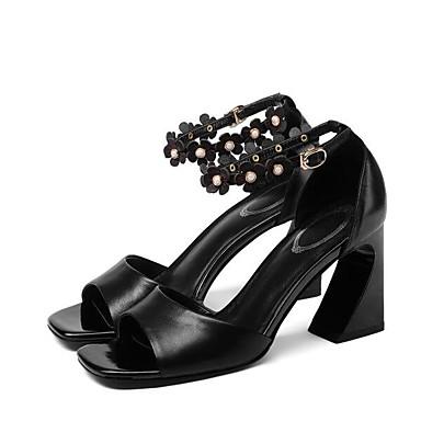 Žene Mekana koža Ljeto Udobne cipele Sandale Kockasta potpetica Obala / Crn / Pink