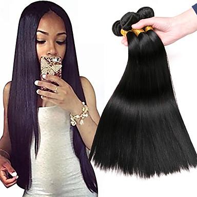 baratos Extensões de Cabelo Natural-3 pacotes Cabelo Mongol Liso 8A Cabelo Humano Peça para Cabeça Extensor 8-28 polegada Preta Côr Natural Tramas de cabelo humano Vestir fácil Melhor qualidade Venda imperdível Extensões de cabelo