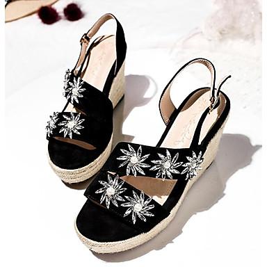 Confort 06778416 Chaussures Daim Noir semelle de Femme Eté Hauteur compensée Sandales dvtWnWq5w