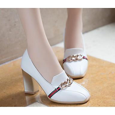 Otoño 06790247 Confort Básico Tacones Mujer Negro Primavera Tacón Pump Amarillo PU Zapatos Blanco Cuadrado qFBtO