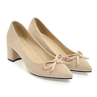 Ante Mujer Tacón Cuadrado Tacones 06840134 Blanco Confort Primavera Rosa Negro Zapatos nrnqaX15