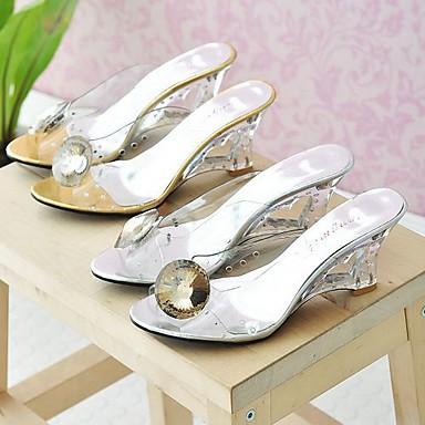 Chaussures Hauteur de 06831421 Or Sandales Polyuréthane Confort Eté compensée semelle Argent Femme 4wO7RO