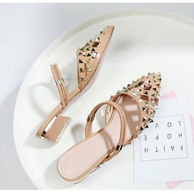 Femme Cuir Eté Chaussures Heel Nappa Printemps Amande Mules amp; 06794785 Sabot Rouge Confort Block r5Irq1