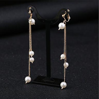 voordelige Dames Sieraden-Dames Synthetische Diamant Clip oorbellen Lang Dames Tropisch Elegant Bruidsmeisje oorbellen Sieraden Wit Voor Feest Feest / Uitgaan 1 paar