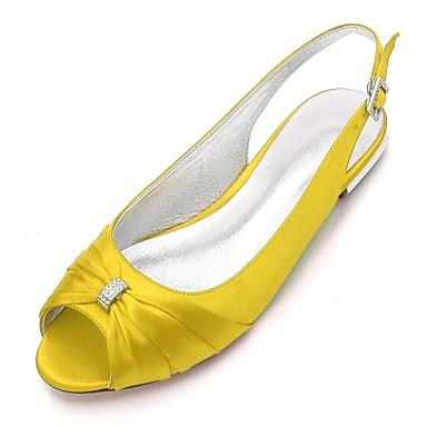 povoljno Ženske cipele-Žene Vjenčanje Cipele Ravna potpetica Peep Toe Štras Saten Udobne cipele / Salonke s remenčićem Proljeće Plava / Svjetlosmeđ / Kristalne / Zabava i večer / EU39
