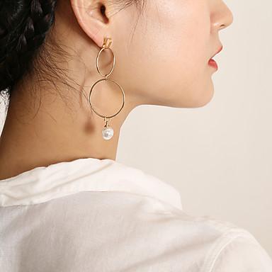 Žene Long Okrugle naušnice - Imitacija bisera dame, Stilski, Korejski, Elegantno Zlato / Pink Za Dar Spoj