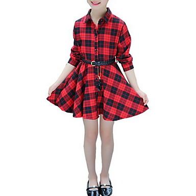 Χαμηλού Κόστους Φορέματα για κορίτσια-Παιδιά Κοριτσίστικα Βασικό Καθημερινά Μαύρο & Κόκκινο Καρό Patchwork Με Κορδόνια Μακρυμάνικο Ως το Γόνατο Πολυεστέρας Φόρεμα Ρουμπίνι