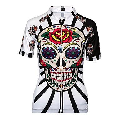 Malciklo Women's Cycling Jersey - Black / Red / White Skull Plus Size Bike Jersey Breathable Quick Dry Anatomic Design Sports Skull Mountain Bike MTB Road Bike Cycling Clothing Apparel