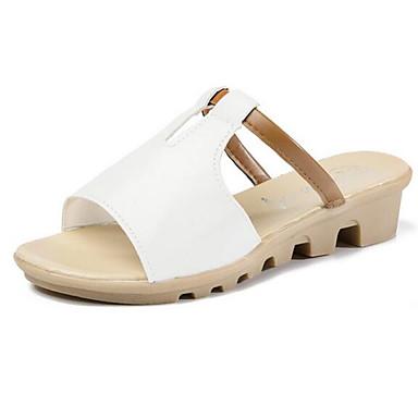 Žene Cipele PU Ljeto Udobne cipele Sandale Niska potpetica Obala / Crn / Bež