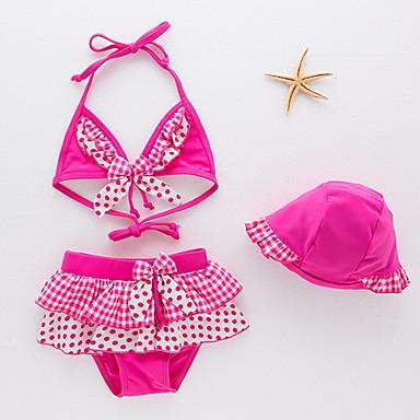 cheap Girls' Swimwear-Kids Toddler Girls' Beach Polka Dot Swimwear Blushing Pink