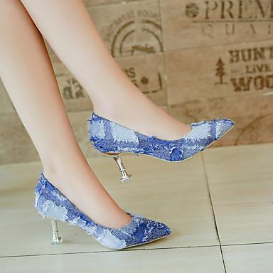 Polyuréthane été Basique Chaussures Talons Lin Rouge 06832411 Escarpin Femme Aiguille Marche Noir Bout Printemps Bleu Talon pointu Chaussures à g1Efw