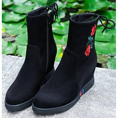 Žene Brušena koža / Mekana koža Jesen zima Udobne cipele / Modne čizme Čizme Ravna potpetica Zatvorena Toe Čizme do pola lista Crn