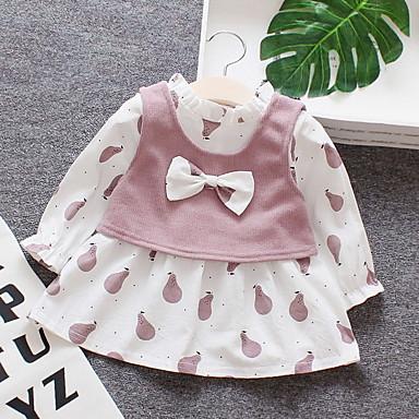 cheap Baby & Toddler Girl-Baby Girls' Basic Print Long Sleeve Cotton Dress Pink / Toddler